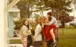 Senior Skip Day at Mike Day's cabin-r-l Jan Mayer, Karen Larson, ??, Joanne Knippenburg, Liz Ankney