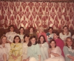 1969 Pajama Party - Sweet 16! bottom r-l Karen Larson, Nancy LeRoy, Mimi Hubert, Jane Johnson (GPS) Sue Moesta, Roberta