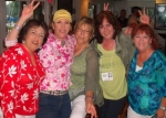 Sue Gallego, Mariann Russell Looney, Debra Allcut Jones, Barbara Bradley Sullivan, Laurie King doing the Can-Can & singi