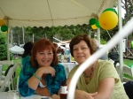 Laurie King and Nancy LeRoy Burk  at the reunion picnic (photo courtesy of Sue Gallego)