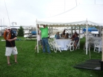 More tent set up activities for the picnic later in the day (photo courtesy Nancy LeRoy Burk)