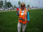 Pam Killebrew Alessandro in her stylish outfit as she goes to direct overflow parking on Lakeshore Dr. for the picnic at