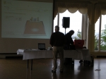 Don DeLaura spends the morning of Sat., May 28, 2011, setting up the projectors, slideshows, and music (photo courtesy C